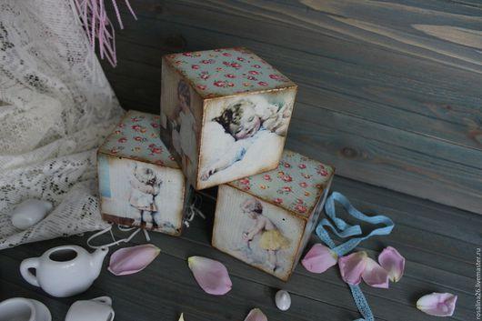 """Детская ручной работы. Ярмарка Мастеров - ручная работа. Купить Кубики """"Нежный возраст"""". Handmade. Кубики деревянные, Декупаж, дети"""