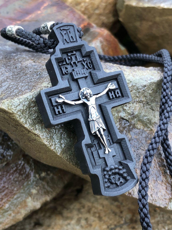 Крест из дерева и серебра с Николаем Чудотворцем. Православный крест, Крестик, Кострома,  Фото №1