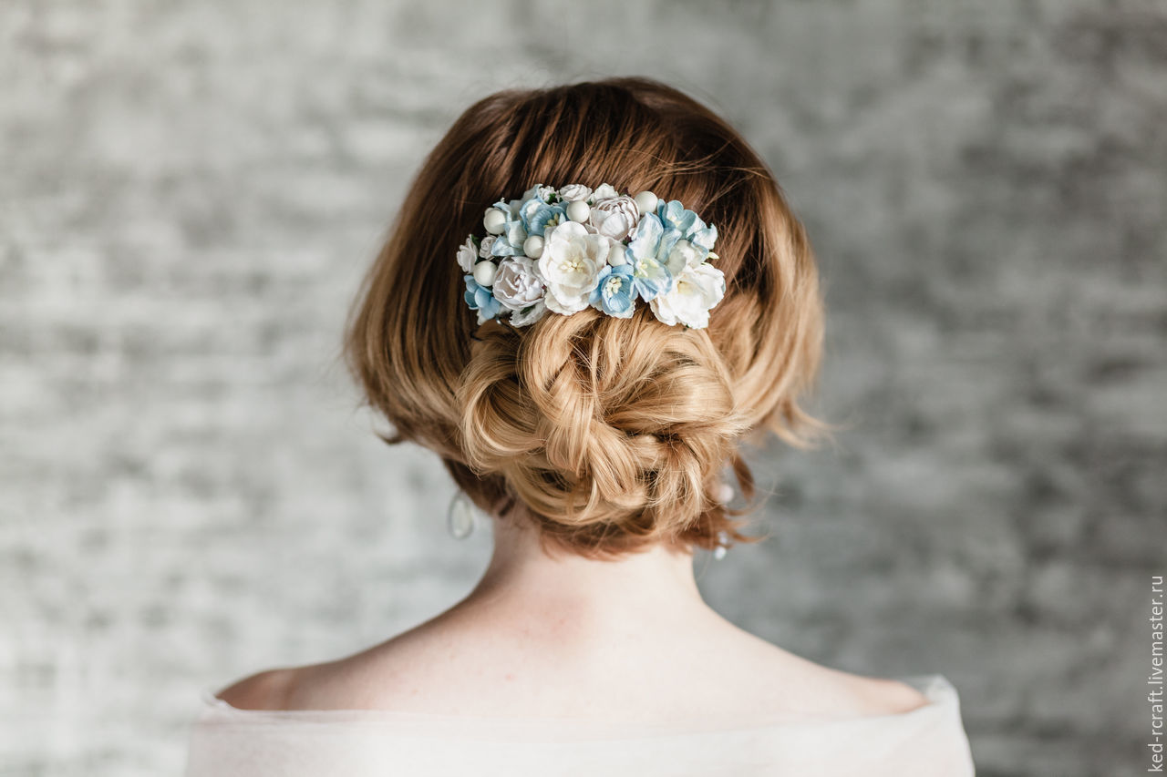 White Hair Comb Blue And White Flowers For Hair Shop Online On