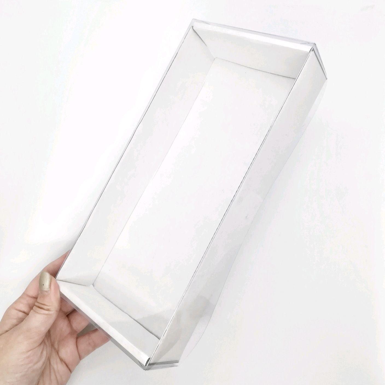 Коробка 24х11х4,5 микрогофрокартон белая с прозрачной крышкой, Коробки, Архангельск,  Фото №1