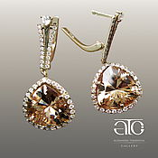 Украшения handmade. Livemaster - original item Gold earrings with citrines and CZ. 585.. Handmade.