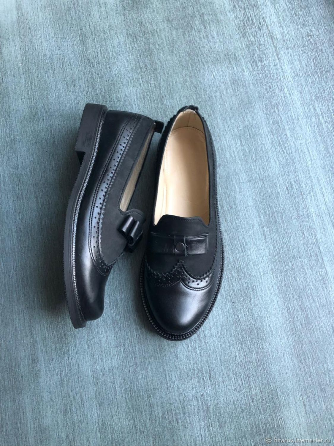 Bow Pumps black leather / black nubuck black sole, Loafers, Moscow,  Фото №1
