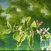Картины и панно ручной работы. Ярмарка Мастеров - ручная работа Ветка жимолости в ветреный день. Handmade.