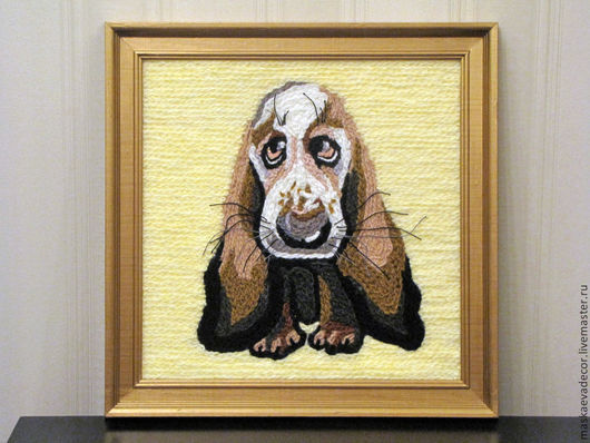 Животные ручной работы. Ярмарка Мастеров - ручная работа. Купить Картина вязанная из пряжи собака Спаниель 38 х 38 см. Handmade.