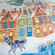 Аксессуары handmade. Livemaster - original item Silk hand-painted shawl - Snow cat. Cat scarf. Blue, white, beige, ter. Handmade.