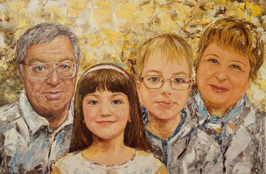 Люди, ручной работы. Ярмарка Мастеров - ручная работа. Купить Портрет. С внуками. Холст на подрамнике, масло, 60х40. Handmade.