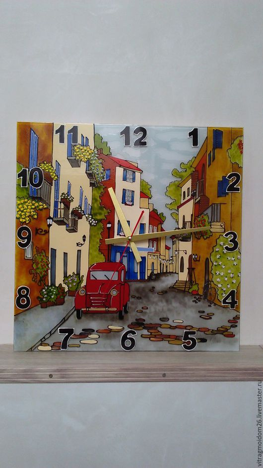 Часы для дома ручной работы. Ярмарка Мастеров - ручная работа. Купить часы настенные Городские улочки 1. Handmade. Комбинированный