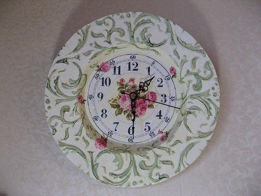 """Часы для дома ручной работы. Ярмарка Мастеров - ручная работа. Купить Часы """"Нежные розы"""". Handmade. Часы, авторские часы"""