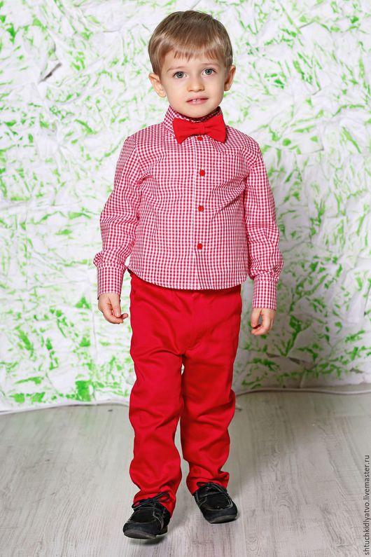 Одежда для мальчиков, ручной работы. Ярмарка Мастеров - ручная работа. Купить Красная клетчатая рубашка и брюки. Handmade. Комбинированный, брюки
