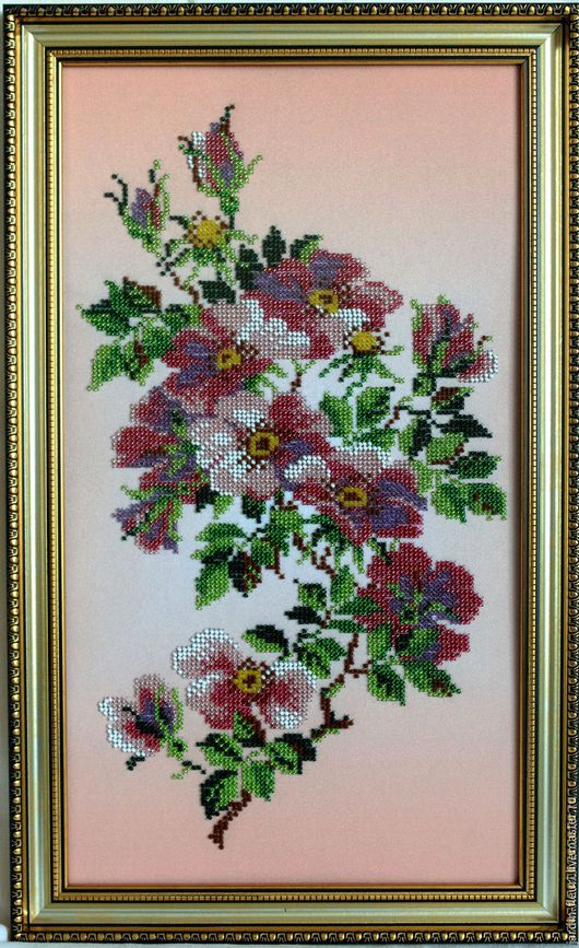 Картины цветов ручной работы. Ярмарка Мастеров - ручная работа. Купить Цветущий шиповник. Handmade. Розовый, картина в подарок
