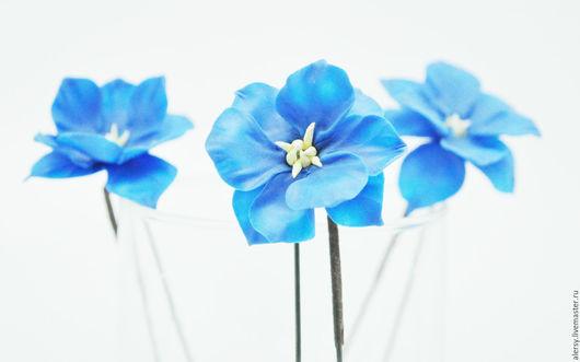 Свадебные украшения ручной работы. Ярмарка Мастеров - ручная работа. Купить Шпильки Цветы  Синие. Handmade. Синий, цветы в прическу