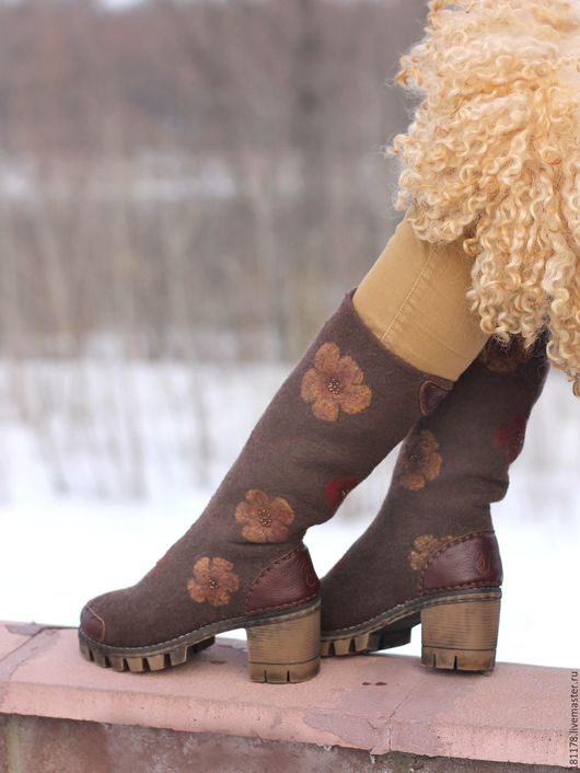 Обувь ручной работы. Ярмарка Мастеров - ручная работа. Купить Сапожки из войлока и кожи