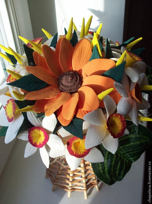 Интерьерные композиции ручной работы. Ярмарка Мастеров - ручная работа. Купить Солнечный цветок - подсолнух. Handmade. Разноцветный, плетёная корзина