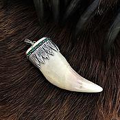 Русский стиль handmade. Livemaster - original item The tooth of a bear in silver. Handmade.