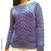 handmade. Livemaster - original item Cardigan womens Blue Scilla knitting braids, Merino wool. Handmade.