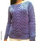 Одежда manualidades. Livemaster - hecho a mano Suéter de mujer Azul proleska punto radios, trenzas de lana merino. Handmade.