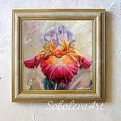 Картина с Ирисом,  Ирис Акварелью Живопись акварелью цветы