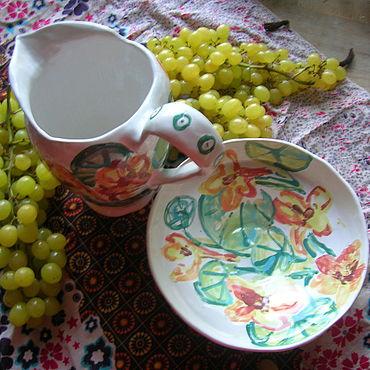 """Посуда ручной работы. Ярмарка Мастеров - ручная работа Салатник """"Настурции"""". Handmade."""