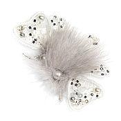 Украшения ручной работы. Ярмарка Мастеров - ручная работа Брошь мотылек в белом ( брошь мотылек, бабочка, белый). Handmade.