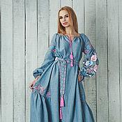 """Одежда ручной работы. Ярмарка Мастеров - ручная работа Вышитое голубое платье в пол """"Нежный соблазн"""" ручная вышивка гладью. Handmade."""
