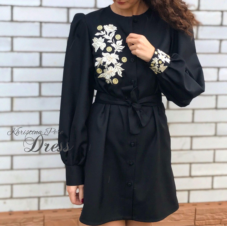 Чёрное платье-рубашка с вышивкой «Богемия», Платья, Санкт-Петербург,  Фото №1