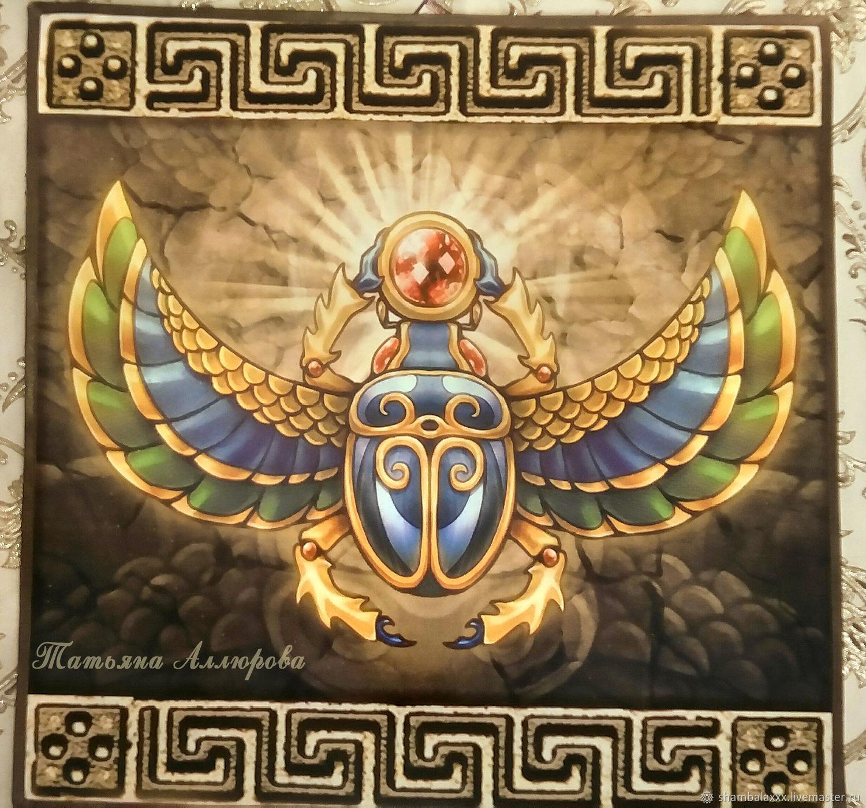 Tablecloth Egypt for rituals and divination, satin-Satnam, Ritual tablecloth, Asha,  Фото №1