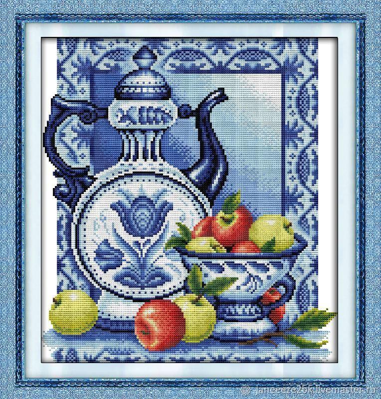 Набор вышивки крестиком Посуда Гжель, Наборы для вышивания, Красноармейск,  Фото №1
