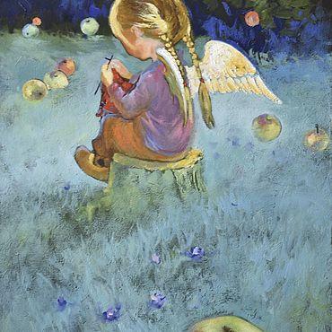 Картины и панно ручной работы. Ярмарка Мастеров - ручная работа Картина маслом «Ангелок в саду» 40/30см. Handmade.