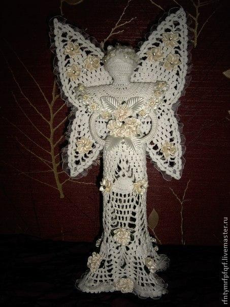 Сказочные персонажи ручной работы. Ярмарка Мастеров - ручная работа. Купить Вязаный ангел Эретта с крыльями-бабочками. Handmade. Белый