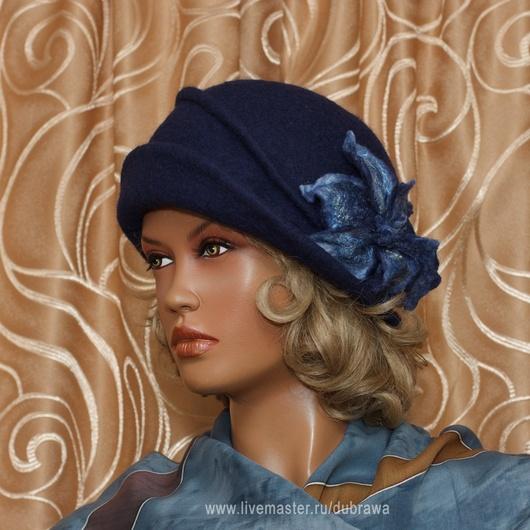 """Шляпы ручной работы. Ярмарка Мастеров - ручная работа. Купить Шляпа войлочная - шляпка-клош - """"Элегантность"""". Handmade. Тёмно-синий"""