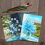 """Картины и панно ручной работы. Ярмарка Мастеров - ручная работа Картины-миниатюры """"Цветы"""", белый, голубой, цена за две картины. Handmade."""