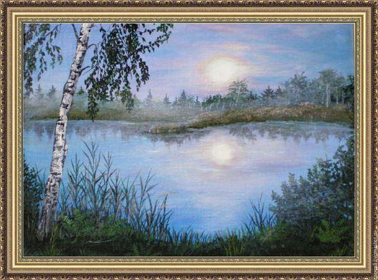 """Пейзаж ручной работы. Ярмарка Мастеров - ручная работа. Купить картина """"Береза у реки"""". Handmade. Синий, картина для интерьера, пейзаж"""