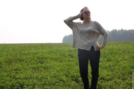 Кофты и свитера ручной работы. Ярмарка Мастеров - ручная работа. Купить Пуловер на прохладный вечер. Handmade. Серый, пуловер женский
