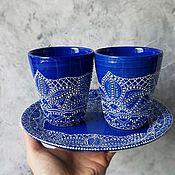 Наборы посуды ручной работы. Ярмарка Мастеров - ручная работа Набор тарелка и керамические стаканы. Handmade.
