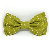 Аксессуары handmade. Livemaster - original item Bow tie olive polka dot. Handmade.