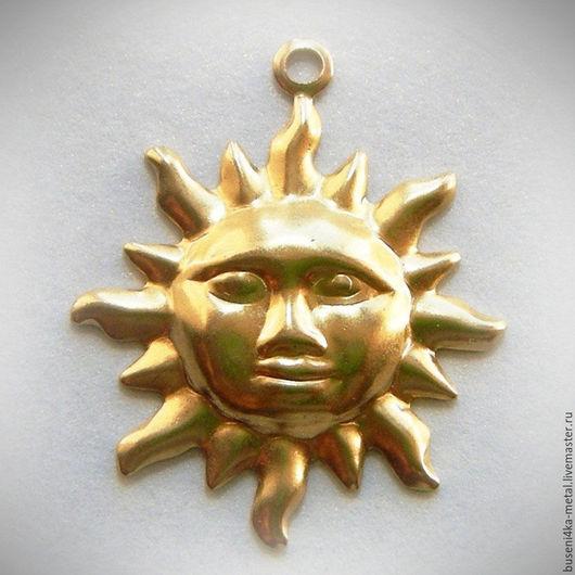Для украшений ручной работы. Ярмарка Мастеров - ручная работа. Купить Штамп-подвеска Солнце, латунь. Handmade. Латунь
