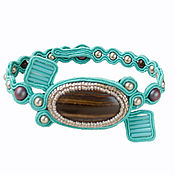 Украшения handmade. Livemaster - original item Soutache bracelet turquoise Swarovski gemstone. Handmade.