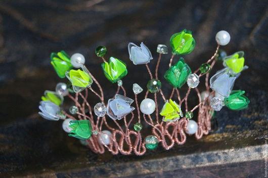 """Диадемы, обручи ручной работы. Ярмарка Мастеров - ручная работа. Купить Корона """"Лесная Фея"""". Handmade. Зеленый, тюльпаны"""