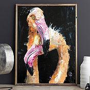 Картины и панно handmade. Livemaster - original item Flamingos in love, Oil Painting, Couple, Two. Handmade.