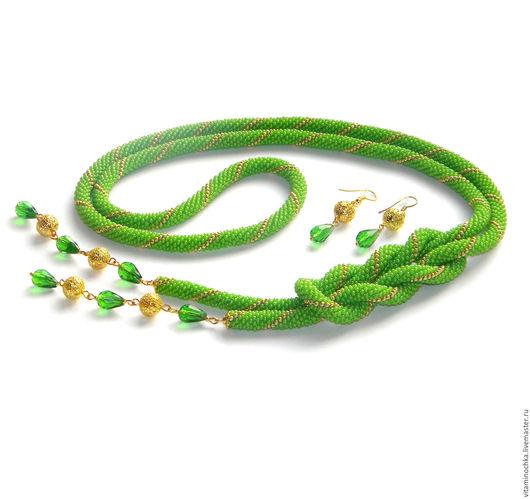 ярко-зеленый лариат, лариат из бисера, лариат купить, лариат из бисера купить, офисная мода, зеленый с золотом