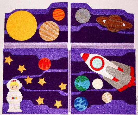 """Развивающие игрушки ручной работы. Ярмарка Мастеров - ручная работа. Купить книжка-игрушка """"Космос"""". Handmade. Тёмно-фиолетовый, космонавт"""