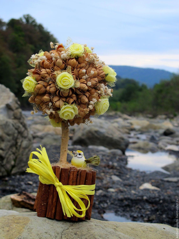 """Топиарии ручной работы. Ярмарка Мастеров - ручная работа. Купить """"О приходе весны"""". Handmade. Желтый, топиарий дерево счастья"""