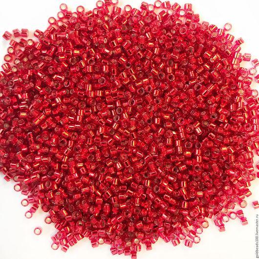 Для украшений ручной работы. Ярмарка Мастеров - ручная работа. Купить 10 ГР MIYUKI DELICA 11/0 DB602 silver-lined red. Handmade.