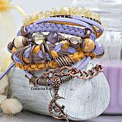 Украшения handmade. Livemaster - original item Boho bracelet with stones, suede and pendant