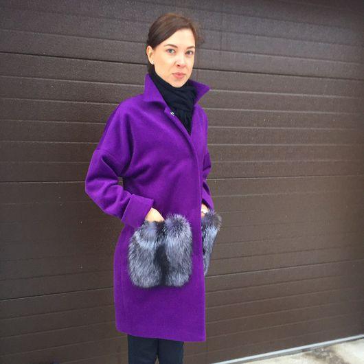 Верхняя одежда ручной работы. Ярмарка Мастеров - ручная работа. Купить Пальто из кашемира и шерсти, мех чернобурки. Handmade. Пальто