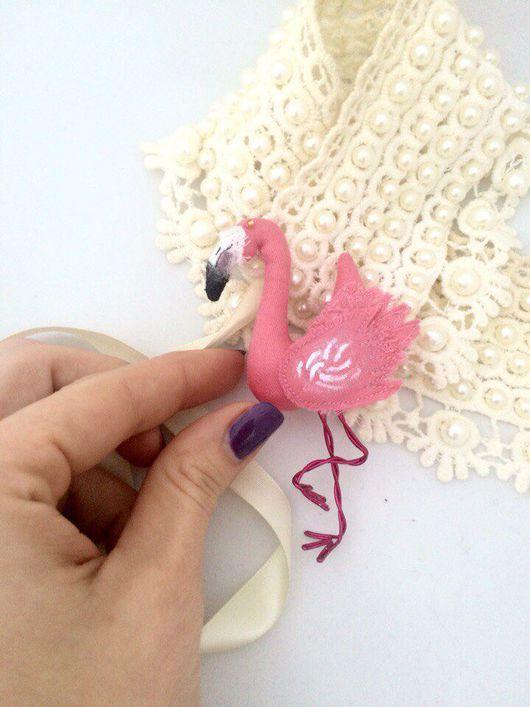 Броши ручной работы. Ярмарка Мастеров - ручная работа. Купить Брошь Розовый Фламинго - дитя заката. Handmade. Брошь
