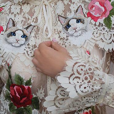 """Одежда ручной работы. Ярмарка Мастеров - ручная работа Вышитая блуза """"Сиамские кошки"""" нарядная блуза с вышивкой. Handmade."""
