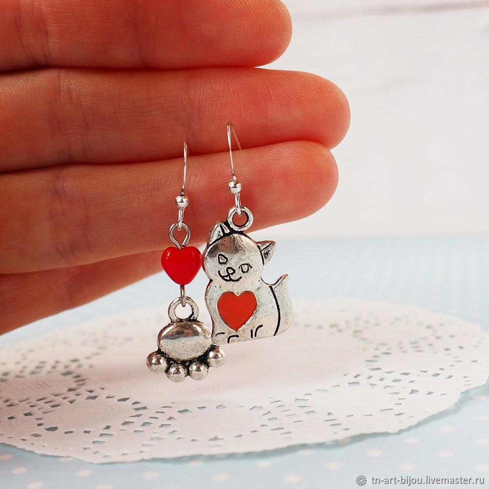 Asymmetrical earrings with cat, Earrings, Sochi,  Фото №1