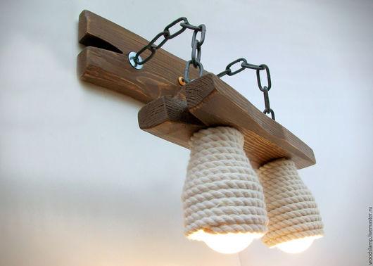 Освещение ручной работы. Ярмарка Мастеров - ручная работа. Купить Бра из дерева на металлических цепях и абажурами из каната. Handmade. Коричневый