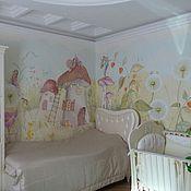 Дизайн и реклама ручной работы. Ярмарка Мастеров - ручная работа Роспись стен в детской девочки. Handmade.